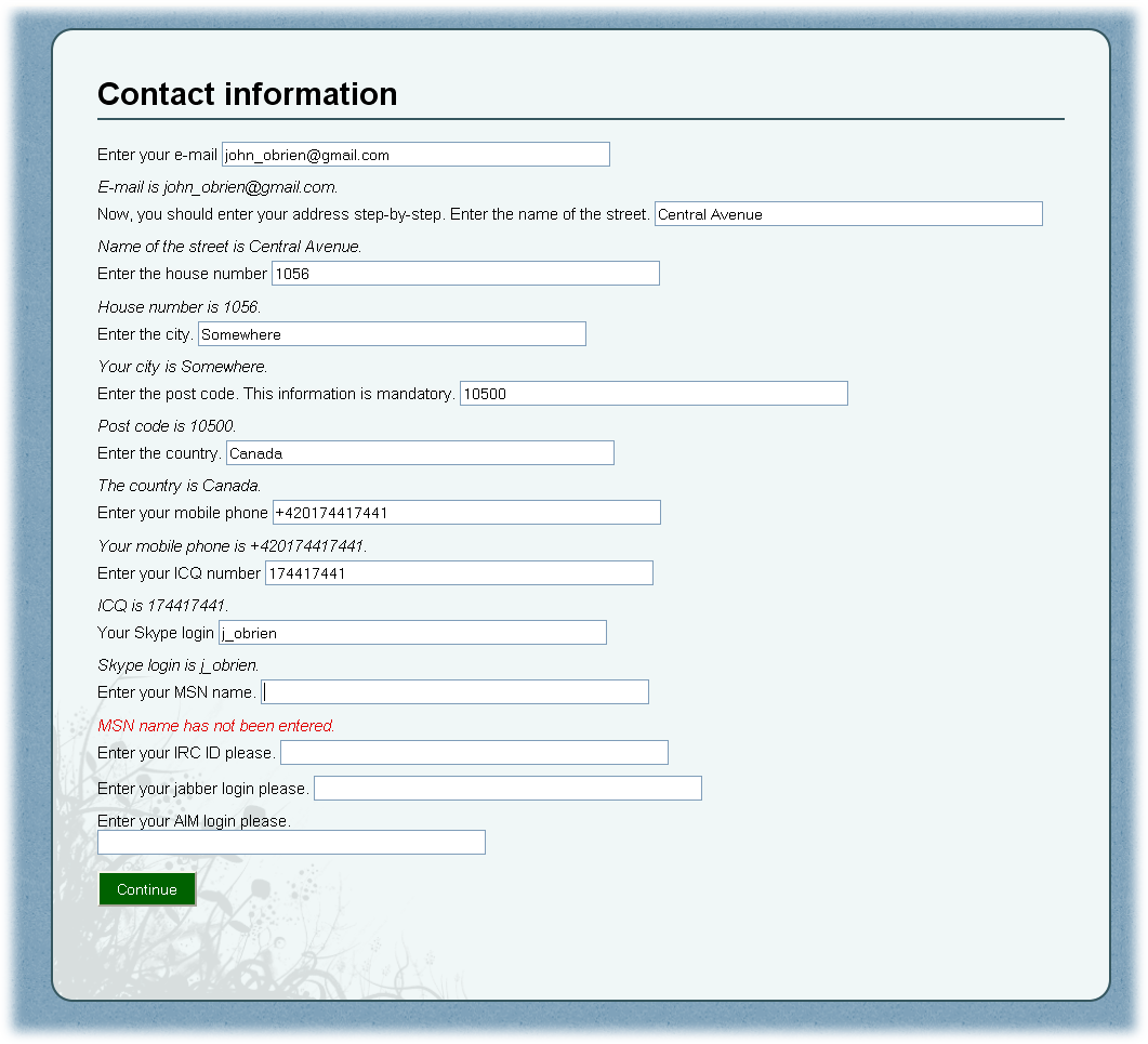 Screenshot of generation process within system for dialogue-based generator of web pages